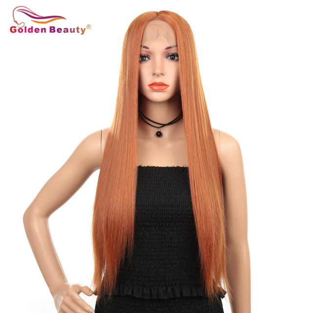 Peruka z długich prostych włosów syntetyczna koronka przodu peruki dla kobiet z środkowej części żaroodporne peruka do cosplay pomarańczowy kolor złoty piękno