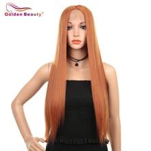Uzun düz peruk kadınlar için sentetik dantel ön peruk orta kısmı ile isıya dayanıklı Cosplay peruk turuncu renk altın güzellik