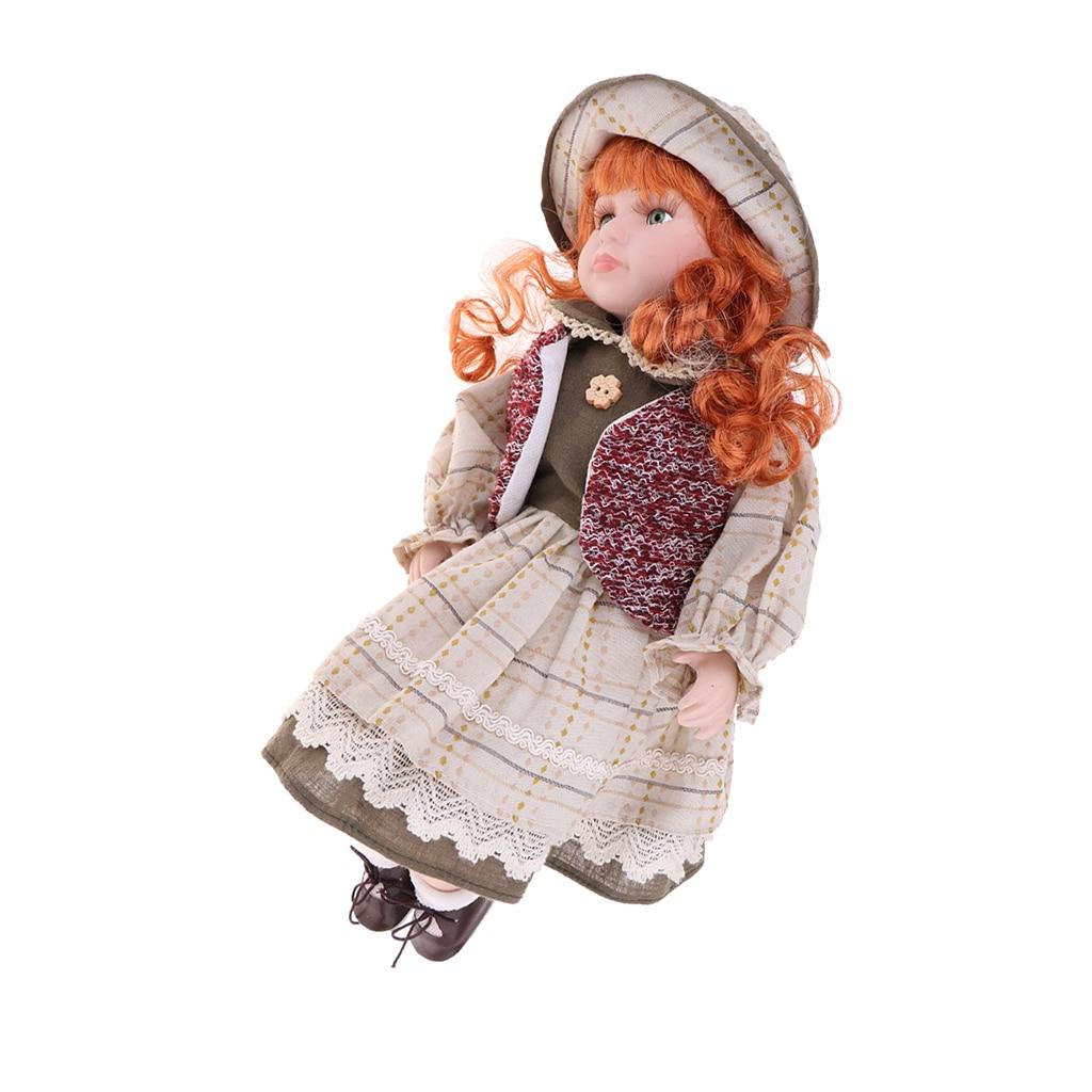 40cm Porzellan Puppe Viktorianischen Dame in Kleid Kleid Menschen Figur Vintage Puppenhaus Miniatur