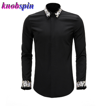 China Style Embroidery Men's Business Shirt Long sleeve Slim Chemise homme Big Size 3XL 4XL Social Shirts for men