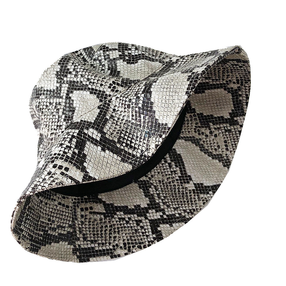 2020 New Ladies Snake-print leather fisherman hat Foldable Printed Leopard Leisure Hats