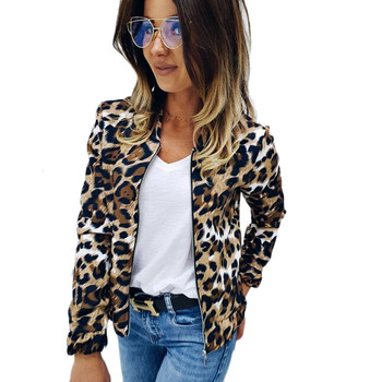 Leopard print women fashion zipper coat tops casual stylish long sleeve slim v neck Jackets outdoor female clothes Autumn Spring