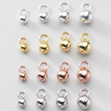 925 Sterling Silver Ringing Round Ball Charms 5 6 7 8 9 10mm S925 Silver 4colors Round Bell Circle Pendents DIY Jewelry Making