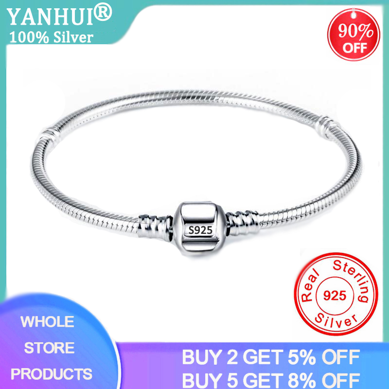 Never Fade 100% Original 925 Solid Silver Chain Charm Bracelet with S925 Logo Fit DIY Beads Charms Women Handmade Gift Bracelet(China)