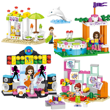 394+pcs Seaside Girl House Building Blocks Sets Compatible Legoed City Friend figures Educational DIY Bricks Children Toys gifts 922pcs mine mountain building blocks my world figures bricks educational toys for kids compatible with legoed minecrafted city