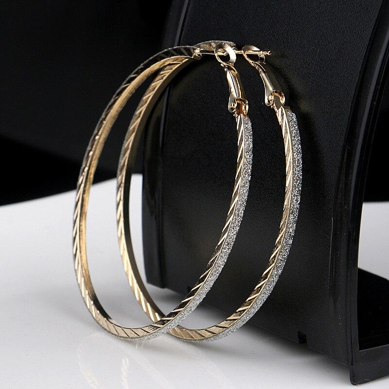 Лидер продаж, модные женские серьги-кольца с принтом зебры из матового серебра, большие вечерние ювелирные изделия, женские серьги в подарок - Окраска металла: 6-gold