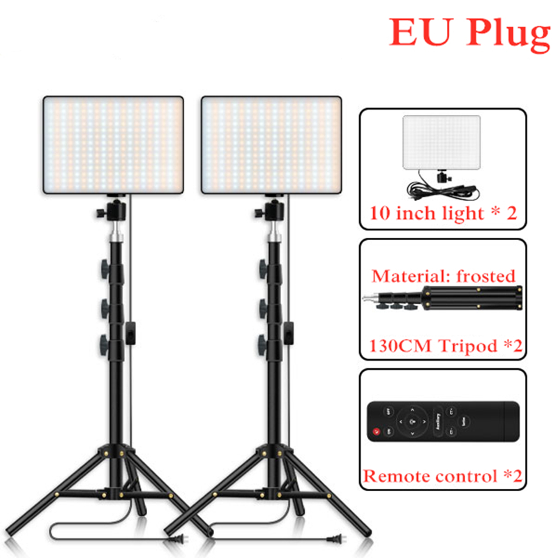 LED Video Light 2 in 1 Kit Photographic Lighting Studio Lamp Bi-color 3200K-6000K Photo Light with Tripod for Youtube
