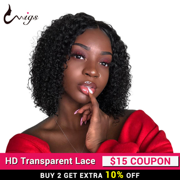 Uwigs Brazilian Curly Bob Wig With Baby Hai 13X4 Lace Front Human Hair Wigs For Black Women 150 Density Remy Hair Wigs 8-14 inch