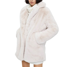 Cardigan Plush-Jackets Long-Coat Oversized Rabbit-Fur Beige Furry Natural Women Winter