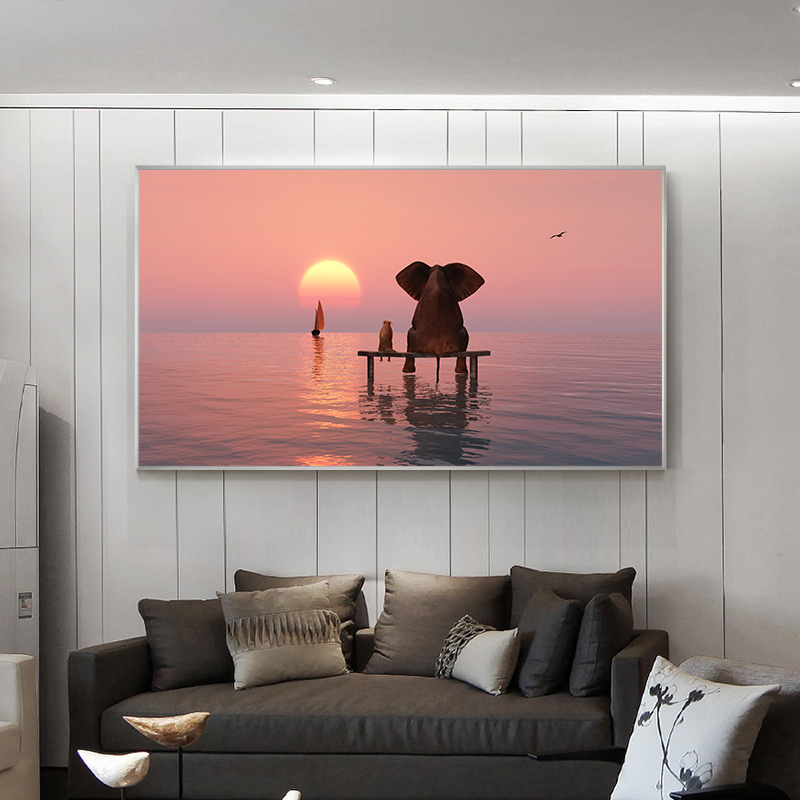 Cute Elephant and Dog See Sunset Canvas Painting Nordic Posters and Prints Wall Art Picture for Living Room Home Decor Cuadros image