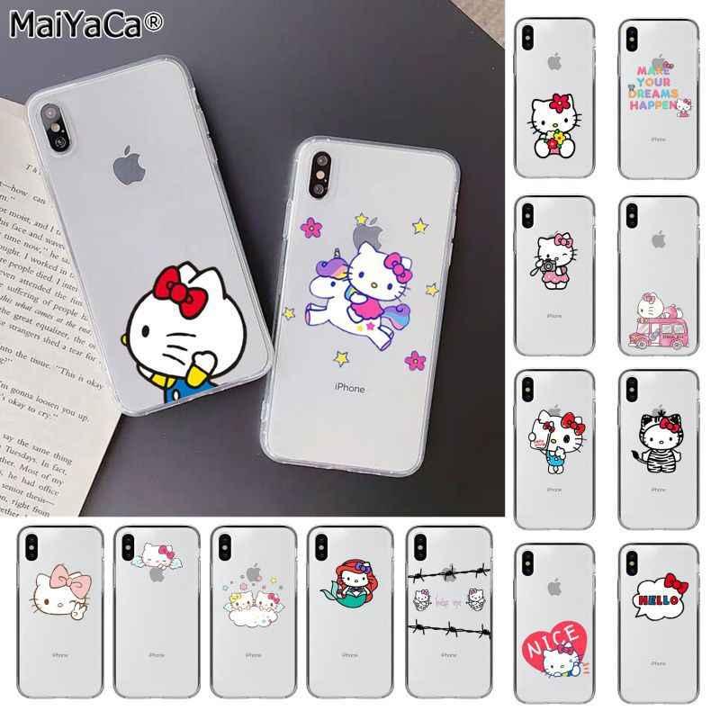 Maiyaca Lucu Hello Kitty Kustom Fundas Foto Ponsel Case untuk Apple Iphone 11 Pro 8 7 66S Plus X XS MAX 5S SE XR Mobile Cover