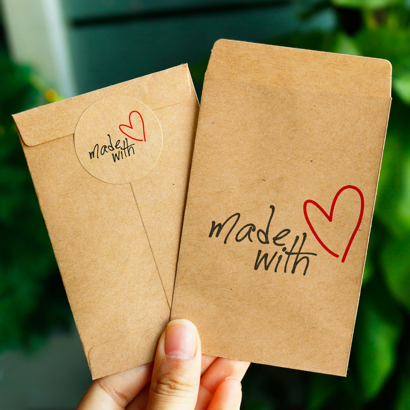 50pcs Gift Paper Bag Made With Love Thank You Kraft Paper Bag With Paper Sticker Party Wedding Gift Packing Candy Wrapping Bag