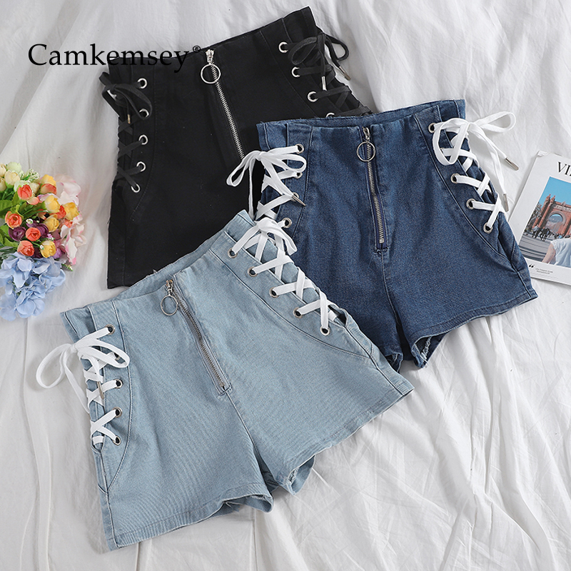 CamKemsey Korean Chic Summer High Waist Denim Shorts Women Fashion Lace Up Bandage Sexy Party Club Hot Shorts