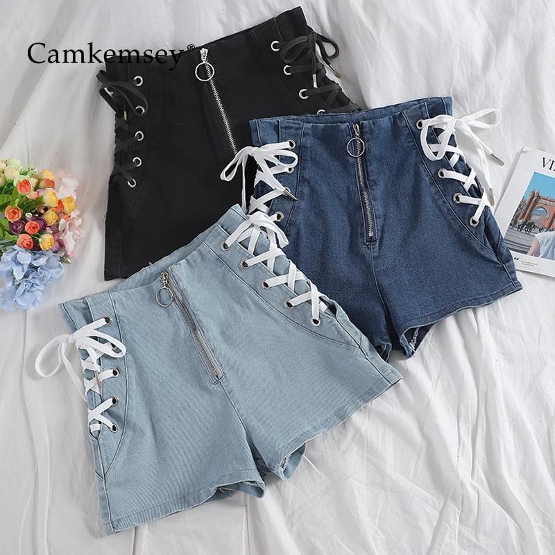CamKemsey Korean Chic Summer High Waist Denim Shorts Women Fashion Lace Up Bandage Sexy Party Club Hot Shorts