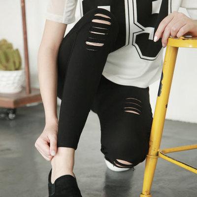 Womens Skinny Legging with Holes Casual Cotton High Waist Pencil Pants Capris Women Black Ripped Legings Women Leggins Mujer