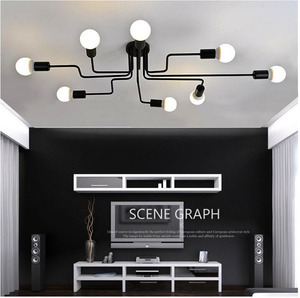 Image 4 - Vintage Ceiling Lights Multiple Rod Wrought Iron Ceiling Lamp E27 Bulb Living Room Lamparas For Home Lighting Fixtures