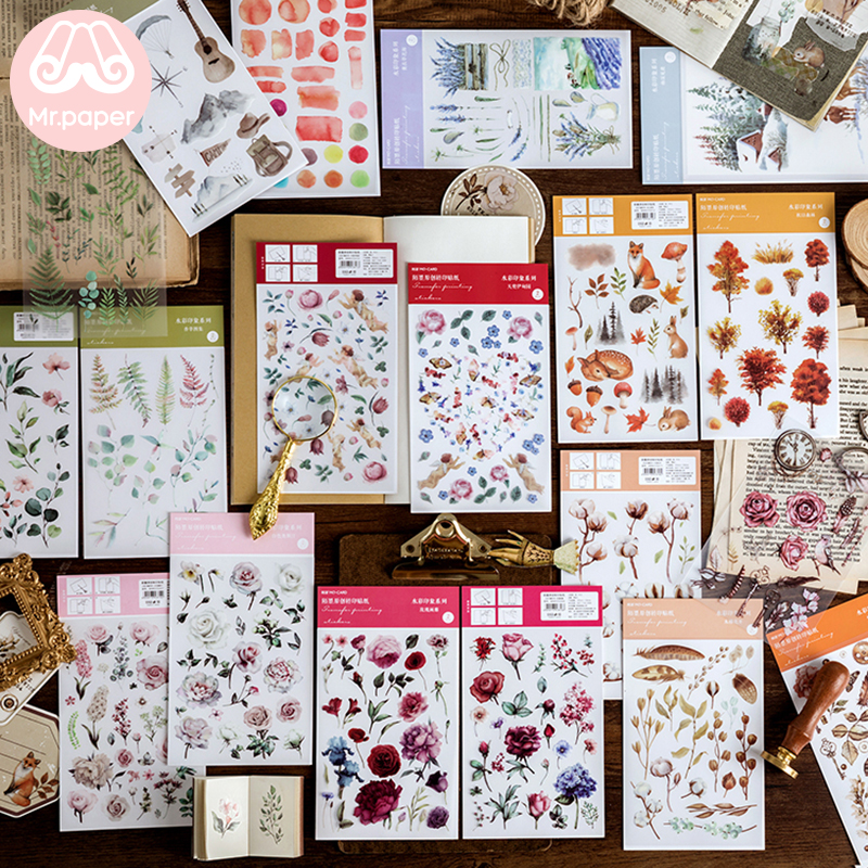 Mr.paper 12 Designs Watercolor Impression  Flowers Plant Deco Diary Stickers Scrapbooking Planner Decorative Stationery Stickers