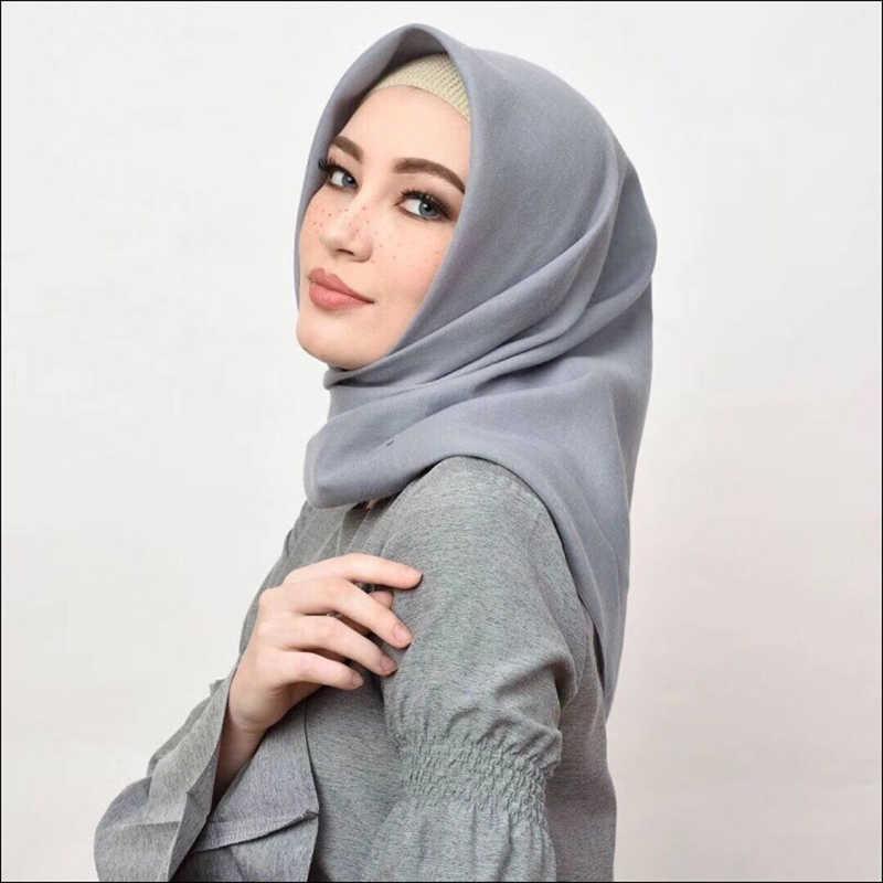 100*100 centímetros Cor Sólida Abaya Hijab Lenço Quadrado Muçulmano Hijabs Turbante Turbantes Para As Mulheres Lenços Foulard Femme Musulman turbante