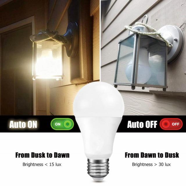 Lampka nocna LED zmierzch do świtu żarówka 10W 15W E27 B22 inteligentna żarówka żarówka 85 265V automatyczne włączanie/wyłączanie lampa oświetleniowa wewnętrzna/zewnętrzna
