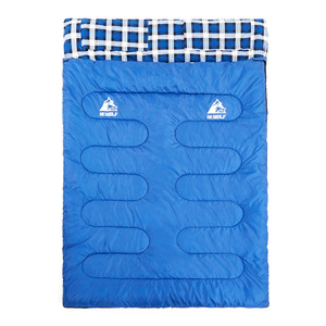 Image 2 - Hewolf Outdoor Double Sleeping Bag Splicable Envelope Spring and Autumn Camping Hiking Portable cotton Sleeping Bags 2.2m*1.45m