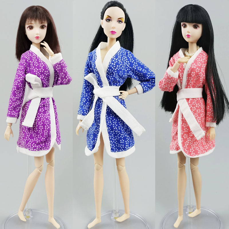 "Fashion Flower Floral Robe For 11.5/"" Doll Clothes Winter Pajama Bathrobe 1//6 Toy"