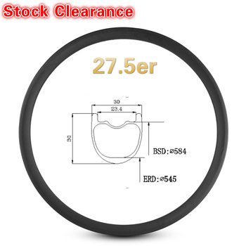 Stock Clearance 27.5er 650B Mountain Bike Rim Carbon Fiber Made Hookless Rim 30mm*30 Width Tubeless For XC Bicycle MTB Wheelset image