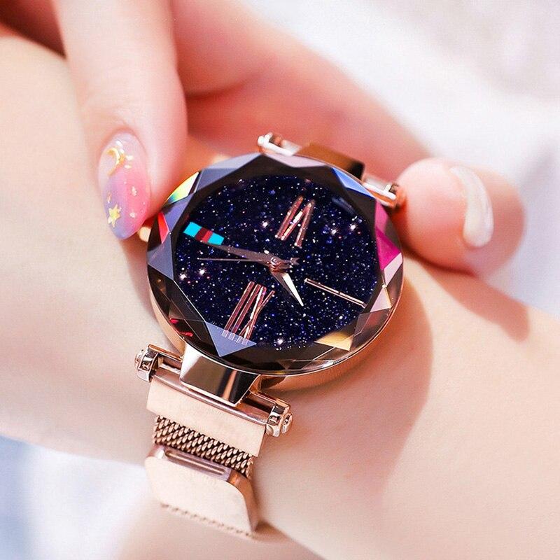נשים שעונים רוז זהב שמי זרועי הכוכבים יוקרה מגנטי רשת ריינסטון קוורץ שעוני יד ליידי יהלומים נשי relogio feminino