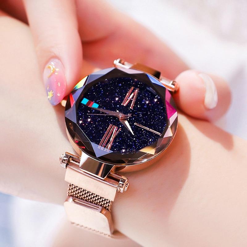 Women Watches Rose Gold Starry Sky Luxury Magnetic Mesh Rhinestone Quartz Wristwatch Lady Female Diamond Watch Relogio Feminino