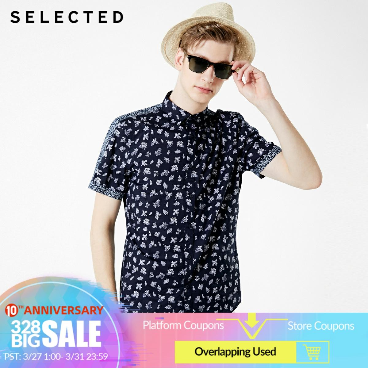 SELECTED Men's 100% Cotton Printed Short-sleeved Shirt S 419204568