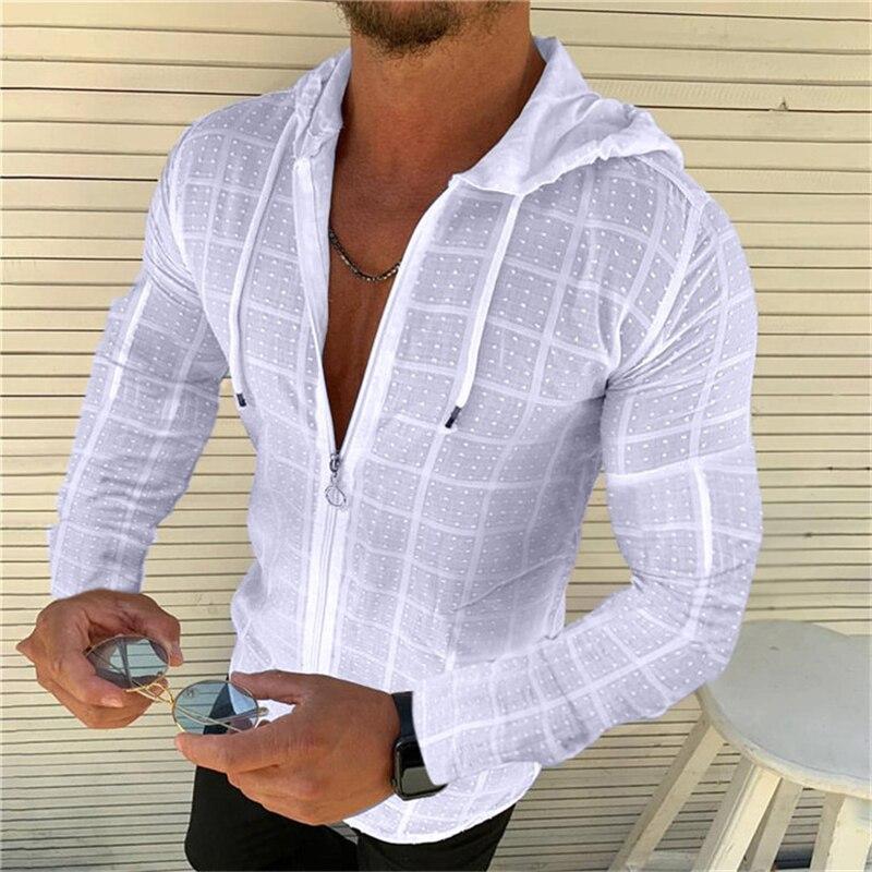2021 модная Толстовка с длинным/коротким рукавом, футболка на молнии, мужская повседневная Гавайская футболка Хенли, гавайская Высококачеств...