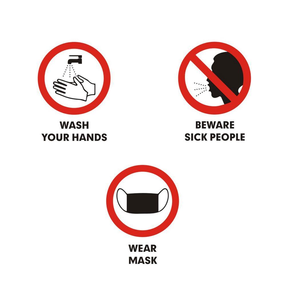 Usar una máscara/lavado las manos/cuidado con gente enferma epidemia de prevención de la etiqueta de la pared de escaparate de ventana de vidrio pegatinas señal de advertencia cartel