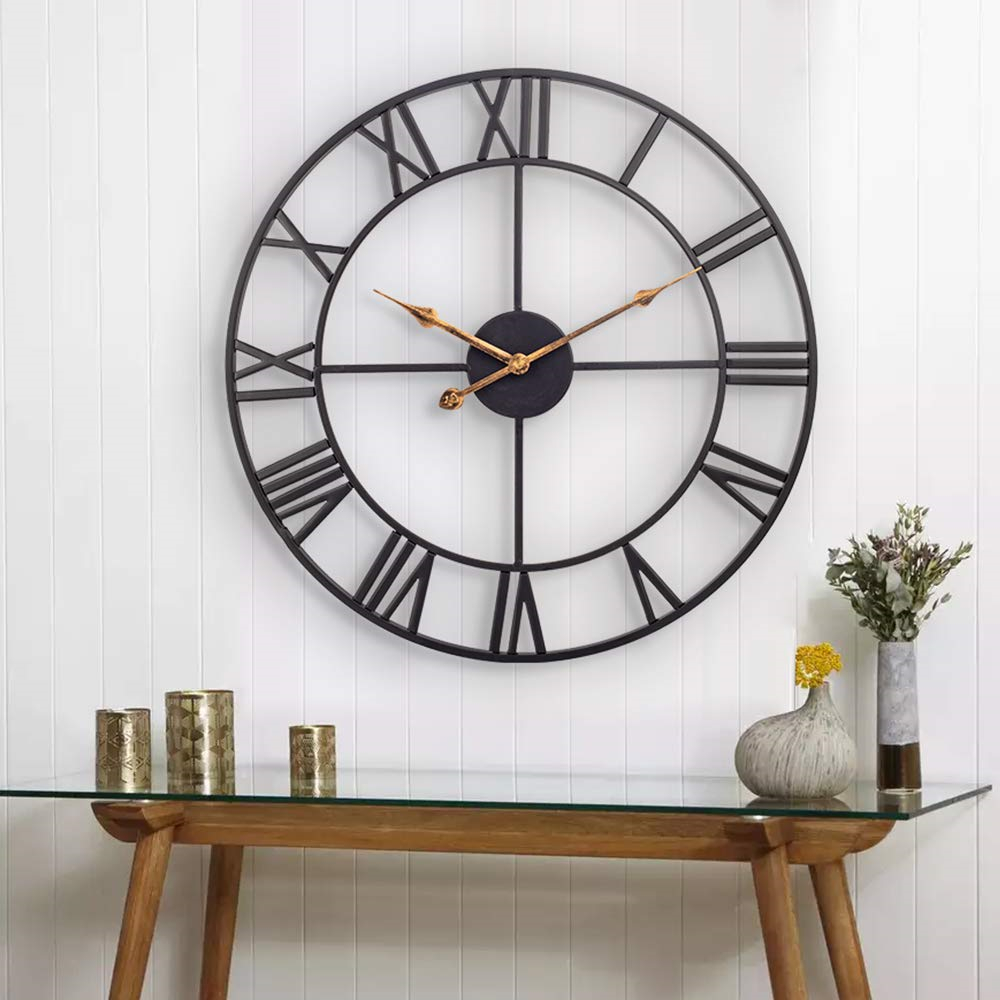 Large Roman Numeral Metal Wall Clocks for Indoor Outdoor Home image