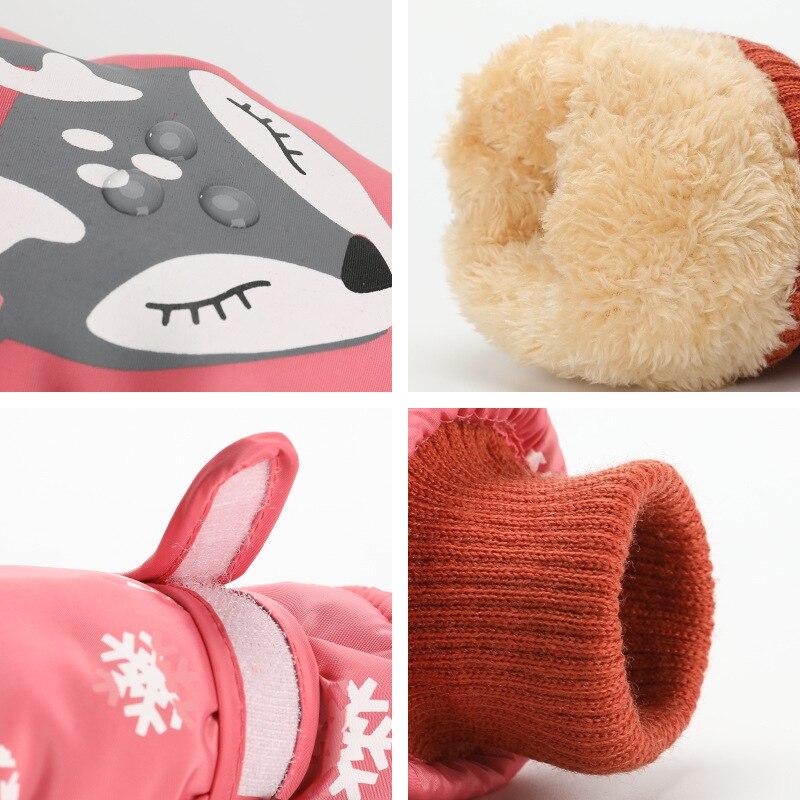 Детские зимние теплые лыжные перчатки для мальчиков и девочек, спортивные водонепроницаемые ветрозащитные Нескользящие зимние варежки, расширенные запястья, перчатки для катания на лыжах, варежки