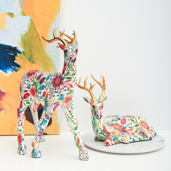 European Style Colored Drawing Flower Pattern Resin Lucky Deer Statue Decoration Simulation Animal Living Room Ornaments X2320