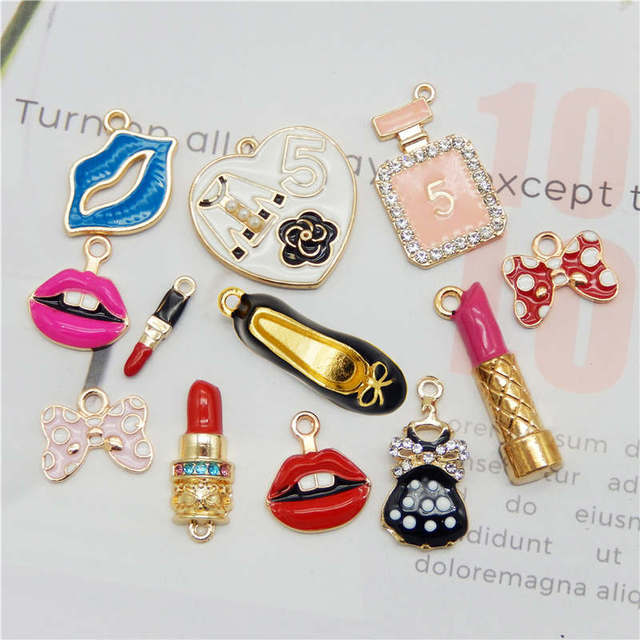 Julie Wang 12PCS Enamel Charms Alloy Mixed Girl Lipstick Lip Dress Shoes Necklace Pendant Bracelet Accessory Jewelry Making 3