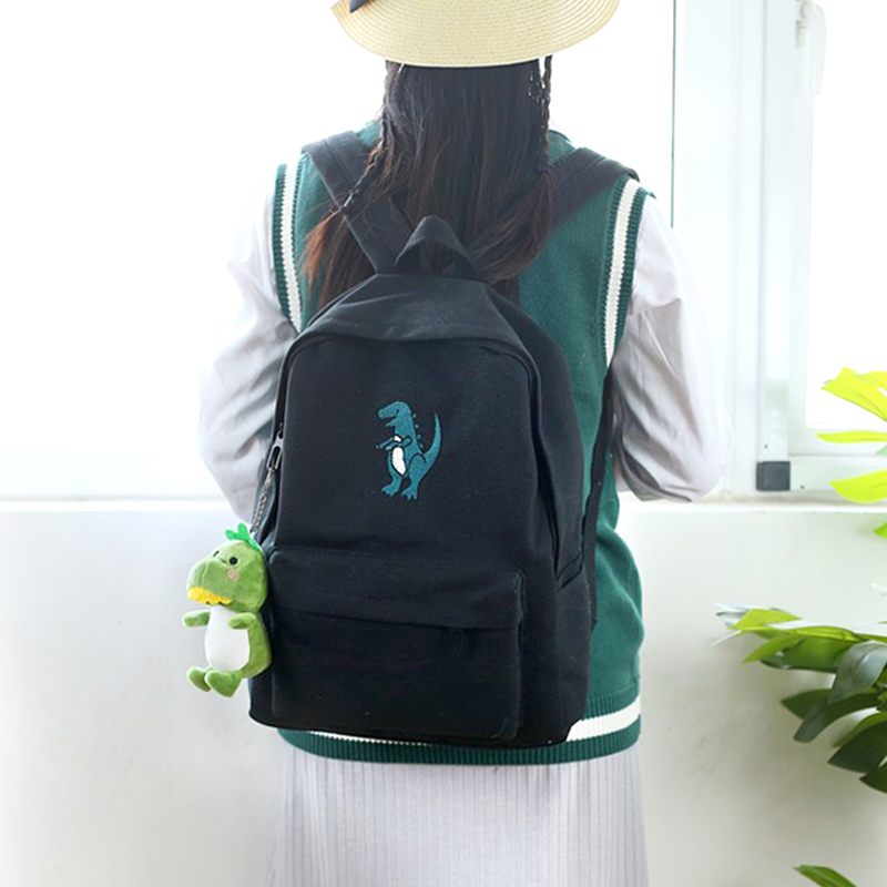 Image 4 - Meloke 2019 hot women embroidery dinosaur backpack bags lovely tassel school bags travel bags for girls drop shipping M453-in Backpacks from Luggage & Bags