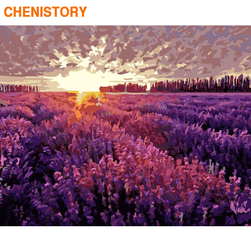 CHENISTORY Frame DIY Painting By Numbers Lavender Modern Wall Art Picture By Numbers Acrylic Canvas By Numbers For Home Decors