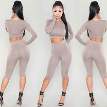 Fashion Women Set Casual Solid Color Long Sleeve Crop Top an