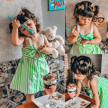 Fashion Princess Toddler Kids Baby Girls Striped Green Dress Front Bow Summer Dress Skirts Party Cute Girl INS button Dress Bohu fashion cute infant baby girl button a line mini skirts button party slim princess pageant skirt