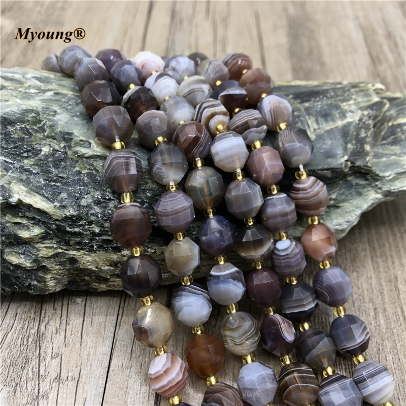 Natural Botswana Agates Faceted Round Column Loose Beads 9x10mm Brown Lace Space Stone Bead For DIY Jewelry Making MY210458