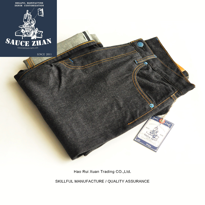 SauceZhan SZ003 Jeans Men 14 5 Ounces Raw Jeans with Bamboo Section Men Jeans Selvedge Jeans