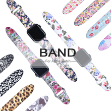 Floral Flower Bands For Apple watch Series 5 4 3 2 1 40mm 44mm, Silicone Printed Strap for iWatch 38mm 42mm