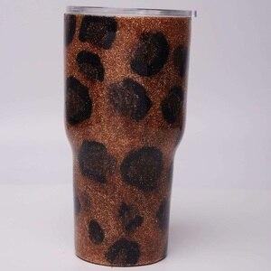 Image 5 - 30oz אפוקסי זהב חמניות כוס גליטר באפלו משובץ נירוסטה כוס מתנה לחג המולד עבור מים מחזיק DOM1172