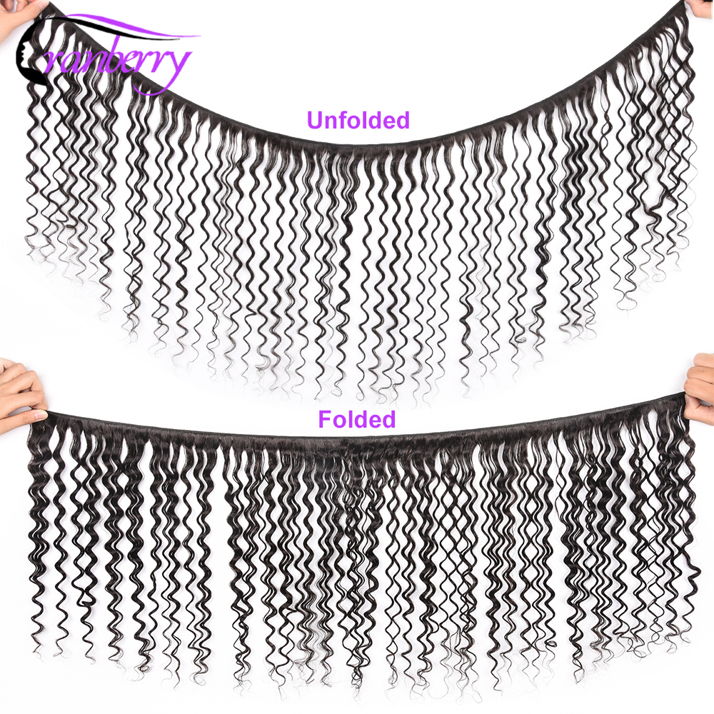 Image 2 - CRANBERRY Hair Deep Wave Bundles With Frontal Ear To Ear Lace Frontal With Bundles Peruvian Human Hair Bundles With Closureear to earear lace frontal closureear lace -