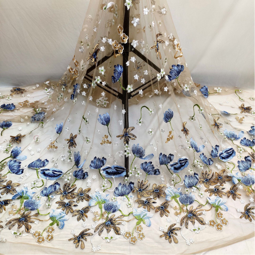 Luxury Embroidered Blue Yellow Flower Lace Fabric Dubai Sewing DIY Tulle Applique Ribbon  Dress Wedding Dress Guipure Decoration