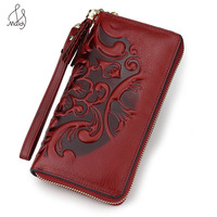Women Genuine Leather Embossing Flower Wallet Clutch Card Holder Coin Purse Bags Long Wallet Pattern Buckle Wallet High Quality