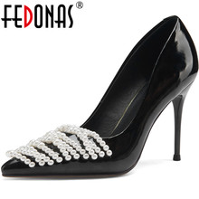 Pumps Shoes Woman Wedding FEDONAS High-Heels Spring Pointed-Toe Fashion Pearl for Women