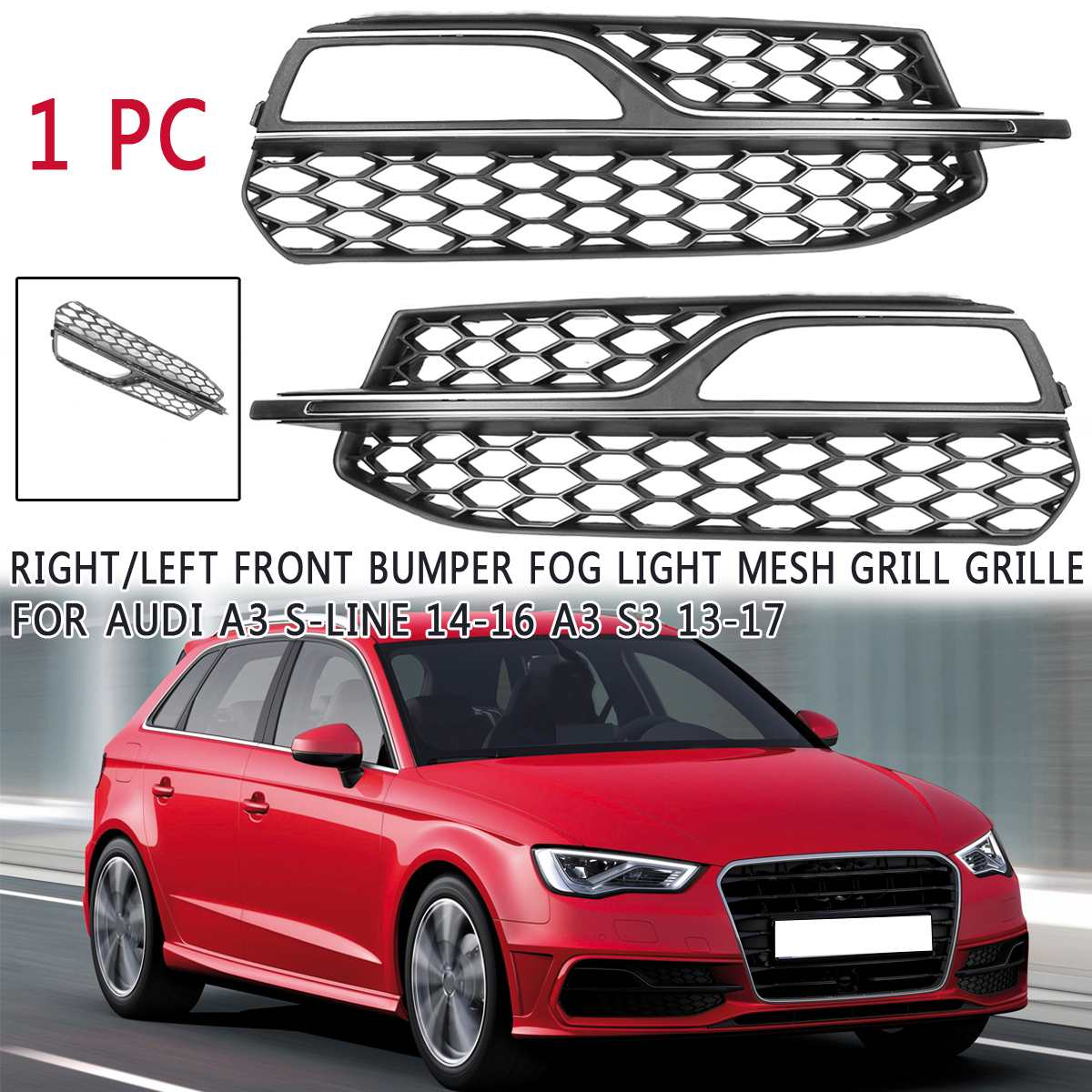 ABS Front Bumper Fog Light Grilles Grill For <font><b>Audi</b></font> <font><b>A3</b></font> S3 2013 2014 <font><b>2015</b></font> 2016 2017 for <font><b>A3</b></font> S-Line 2014 <font><b>2015</b></font> 2016 Car-styling image