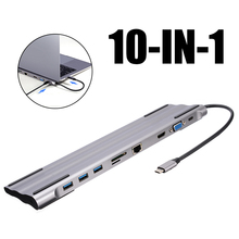 Multifunction USB Type C Docking Station 10-in-1 3.0 Hub With 3.5mm Audio HDMI RJ45 USB-C PD VGA Card Reader Ports