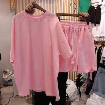 Koreański raglanowe rękawy Oversize kobiet 2-sztuka garnitur O szyi kołnierz spodenki elastyczne kobiet Streetwear letnie damskie zestawy na co dzień